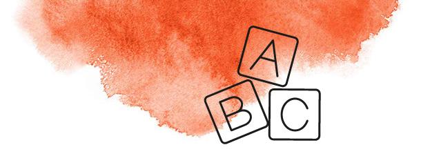 Roter Farbklecks mit ABC Icon