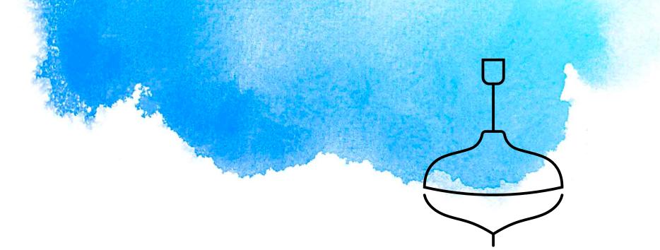 Illustrierter Kreisel mit blauer Wasserfarbe
