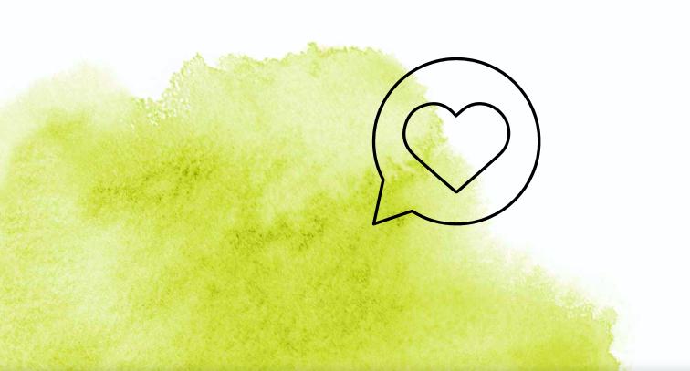 Illustriertes Herz mit grüner Wasserfarbe