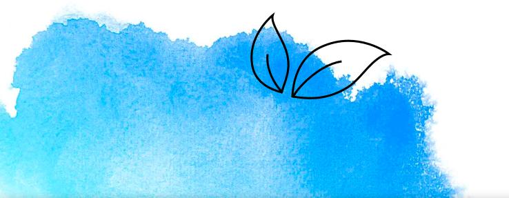 Illustrierte Blätter mit blauer Wasserfarbe