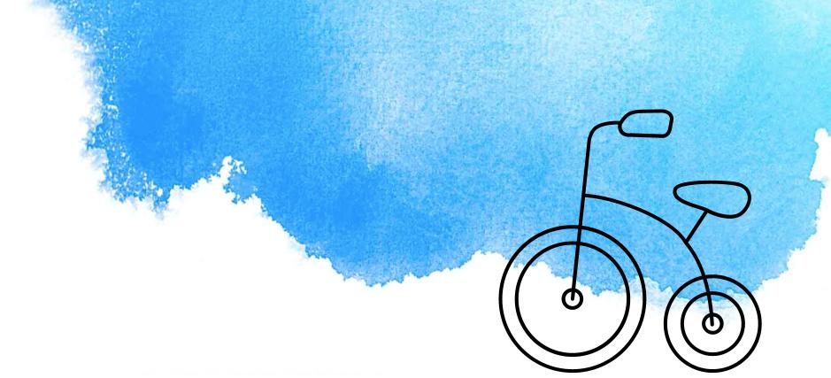 Illustriertes Fahrrad mit blauer Wasserfarbe