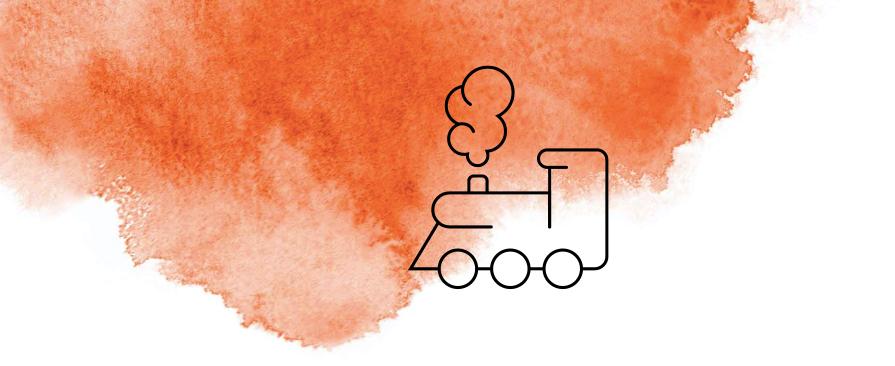 Illustrierte Lokomotive mit orangener Wasserfarbe